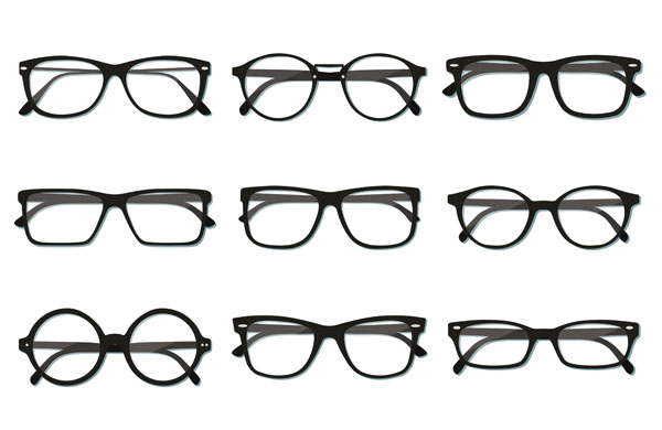 Vector image of different shaped spectacles.
