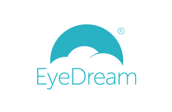 Blue EyeDream contact lens logo on white background